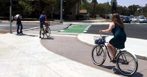 California builds first protected intersection for bikes in the US