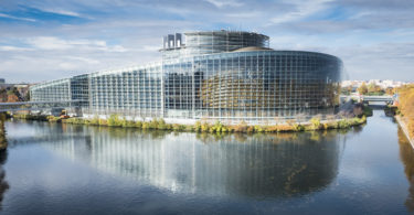 Aerial view of EU Headquarters in Strasbourg
