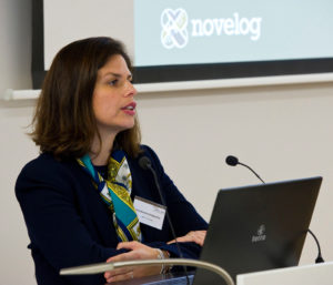 Brussels - Belgium, November 17, 2016 -- Celebration event of the 10th Anniversary of Open ENLoCC (European Network of Regional Logistics Competence Centers); here, Lina Konstantinopoulou (Head of Department of Logistics and Transport at ERTICO) representing NOVELOG, New Cooperative Business Models and Guidance for Sustainable City Logistics -- Photo: © HorstWagner.eu
